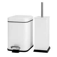 Harbour Housewares Square Steel Bathroom Pedal Bin & Toilet Brush Set - White