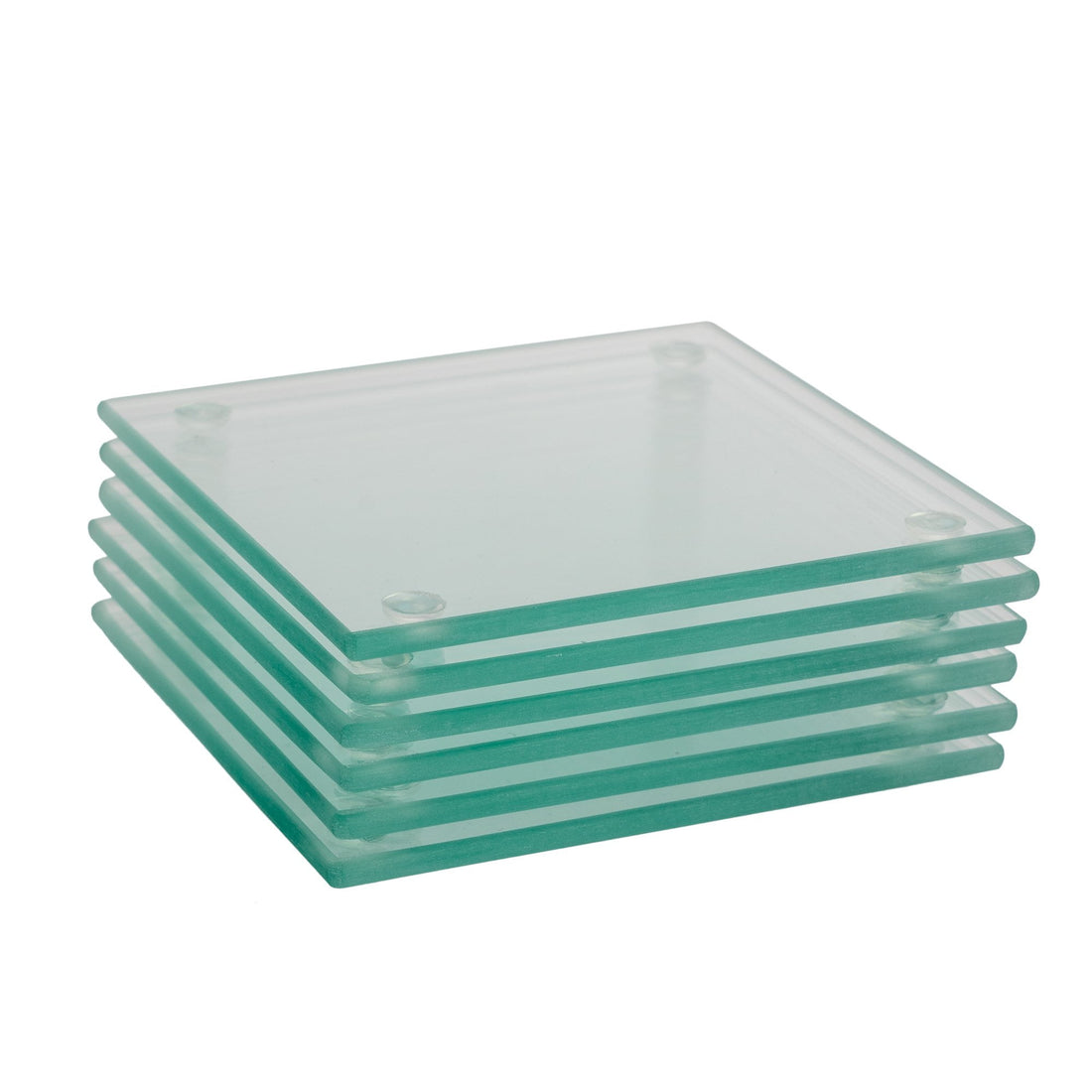 Harbour Housewares Glass Square Coasters - Clear