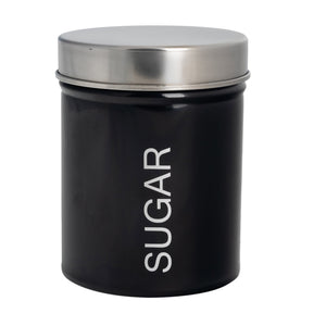 Harbour Housewares Metal Kitchen Sugar Canister - Black