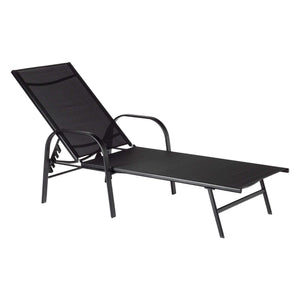 Harbour Housewares Sussex Adjustable Garden Sun Lounger Bed - Black