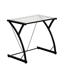Harbour Housewares Small Glass Computer Desk - Black