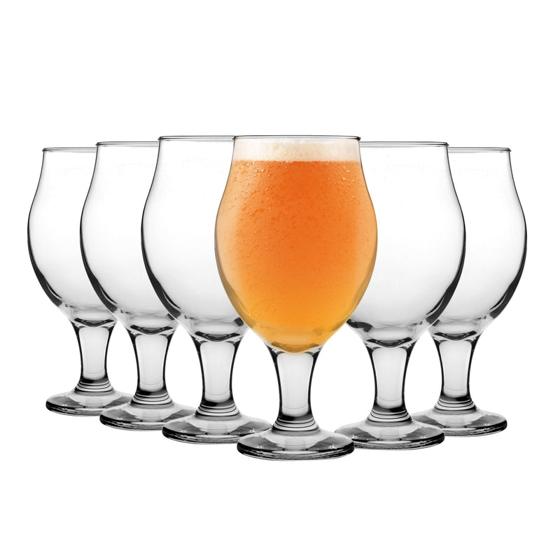 LAV 6 Piece Angelina Classic Tulip Beer Glass - Clear - 570ml