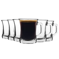 LAV 6 Piece Zen+ Glass Coffee Mug Set - Clear - 225ml