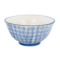 "Nicola Spring Hand Printed 6"" Cereal Bowl - Flowers - Navy"
