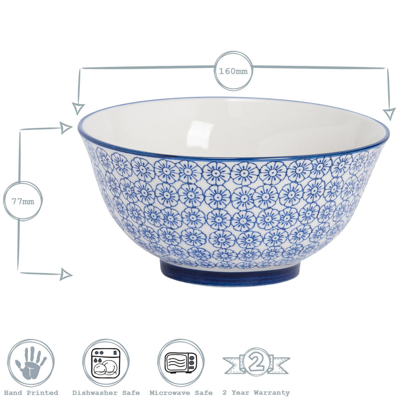 "Nicola Spring Hand Printed 6"" Cereal Bowl Dimensions"