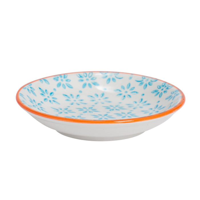 "Nicola Spring Hand Printed 4"" Sauce Dish - Leaves - Blue"