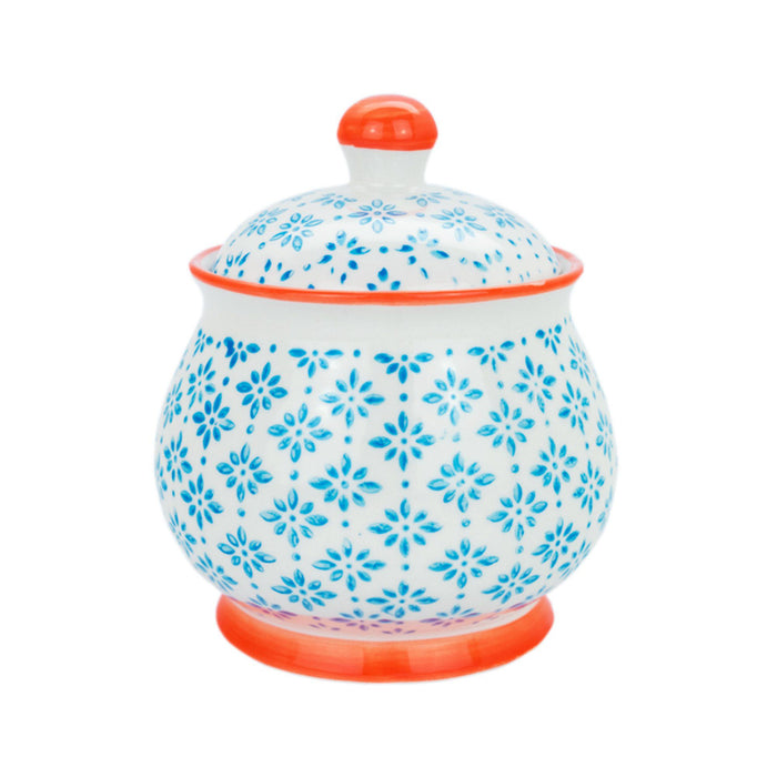 Nicola Spring Hand Printed Sugar Bowl - Leaves - Blue
