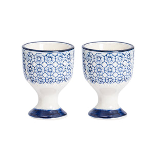 Nicola Spring Egg Cups - Flowers - Navy - Pack of 2