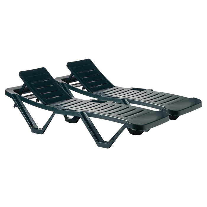 Resol Master Folding Sun Loungers - Pack of 2 - Green