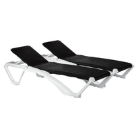 Resol Marina Canvas Sun Loungers - Pack of 2 - Black