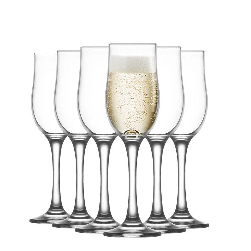 LAV 6 Piece Nevakar Glass Champagne Tulips Set - 195ml
