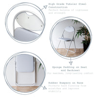 Harbour Housewares Padded Folding Chair - White Seat