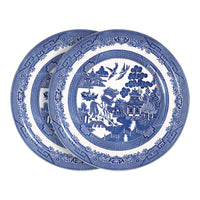 Churchill 6 Piece Blue Willow Georgian Dinner Plates Set - 26cm - Blue