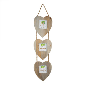 "Nicola Spring Triple Heart Wooden 3 Photo Hanging Picture Frame - 4 x 4"" Nicola Spring 4 x 4"