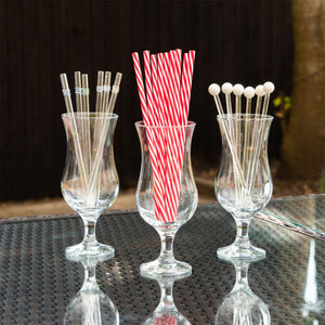 Rink Drink 10 Classic Red Striped Reusable Drinking Straws