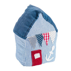 Nicola Spring Vintage Fabric Door Stop - Blue Beach Hut