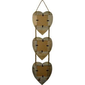 Nicola Spring 4x4 Hanging Hearts Picture Frame (3 Photo)