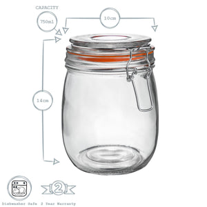 Argon Tableware Glass Storage Jar - 750ml - White Seal