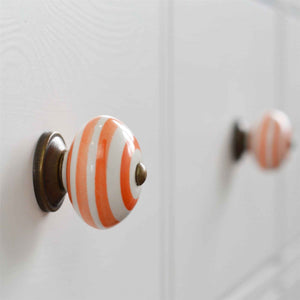 Nicola Spring Vintage Striped Ceramic Door Knob - Orange