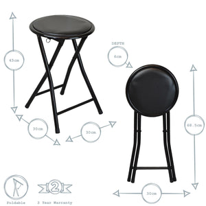 Harbour Housewares Round Compact Folding Stool Black