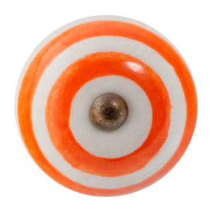 Nicola Spring Ceramic Cupboard Drawer Knob - Stripe Design - Orange Nicola Spring Door Knobs