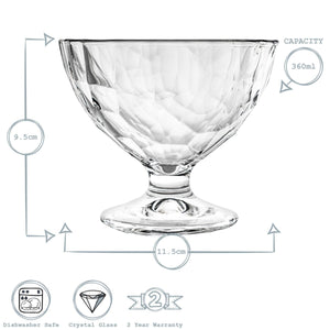 Bormioli Rocco Diamond Stemmed Ice Cream Bowls - 360ml - Pack of 6