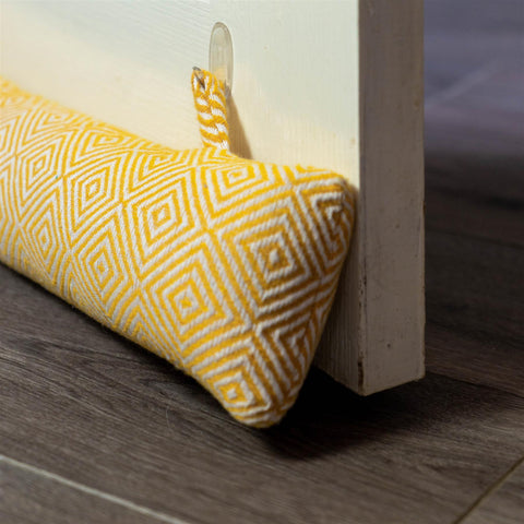 Nicola Spring Decorative Draught Excluder Yellow 80cm Interior Door Lifestyle with Matching Door Stop