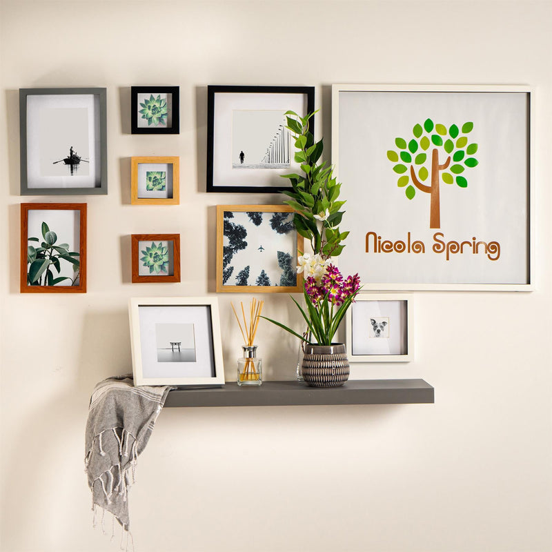 "Nicola Spring 3D Box Photo Frame - 5 x 7"" with 4 x 6"" Mount - Dark Wood/White"