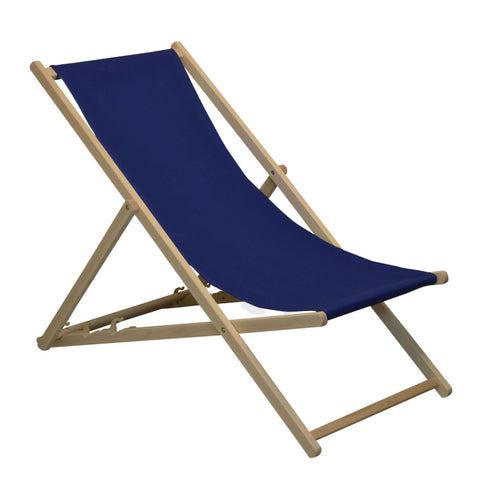 Traditional Garden Beach Style Adjustable Deck Chair Navy Blue Harbour Housewares Deck Chair