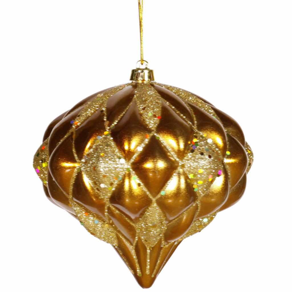 "5.7"" Matte/Glitter Diamond-Embossed Onion Ornament"