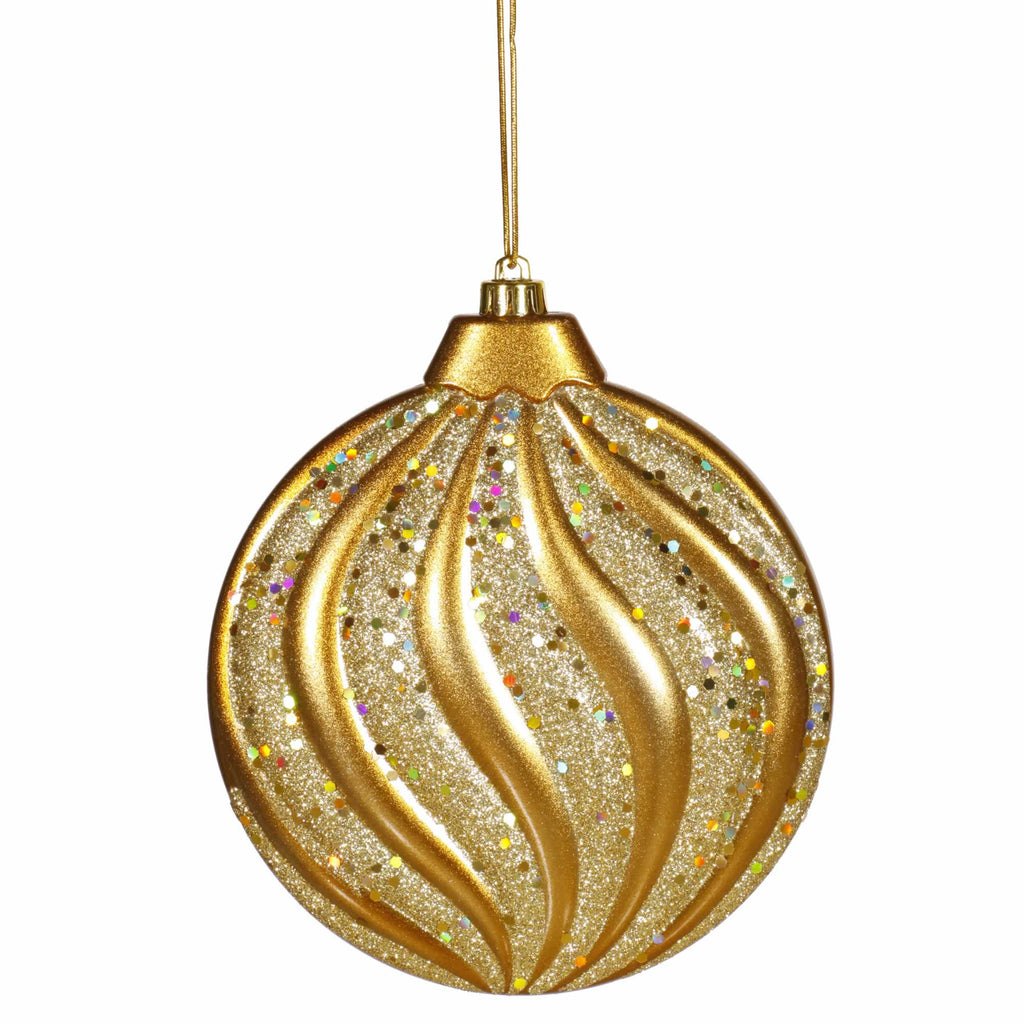 "6"" Matte/Glitter Flat Ball Ornament"