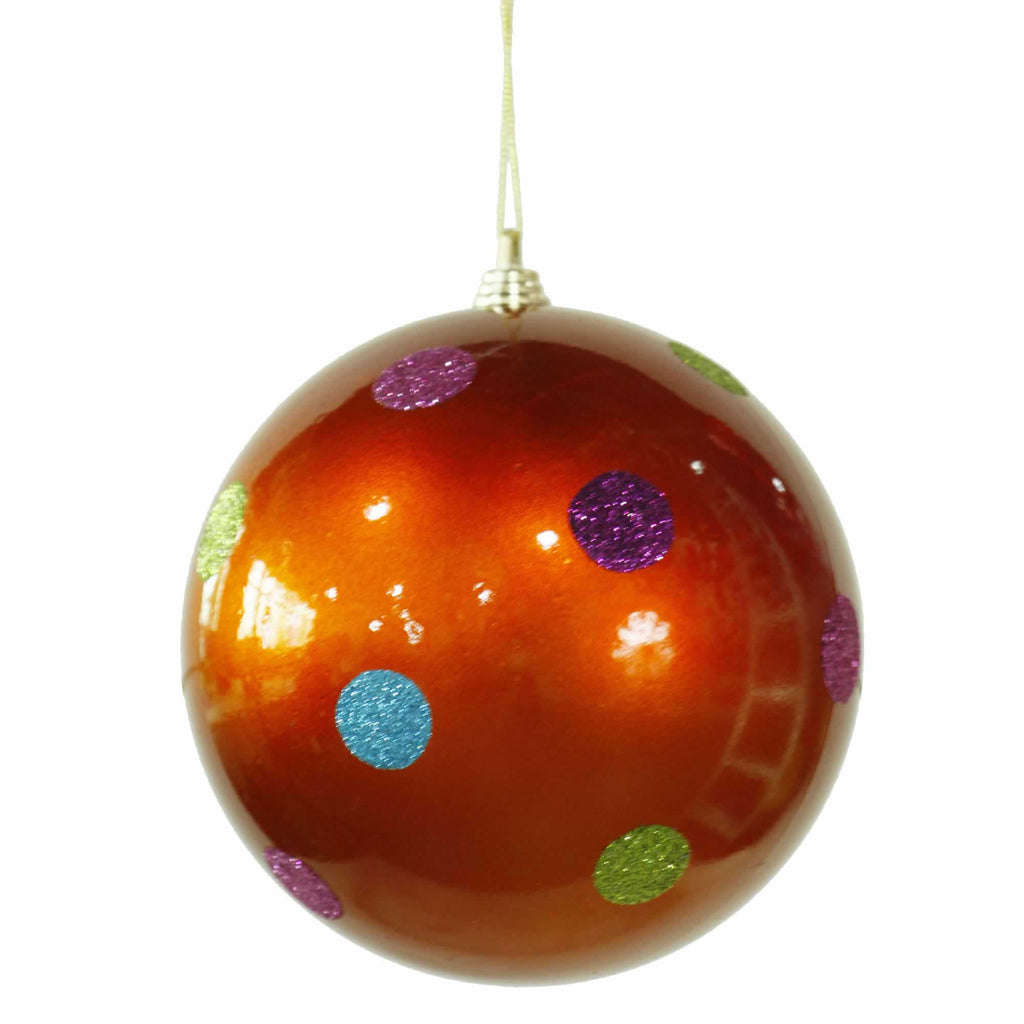 "5.5"" Candy Finish Polka Dot Ball Ornament"
