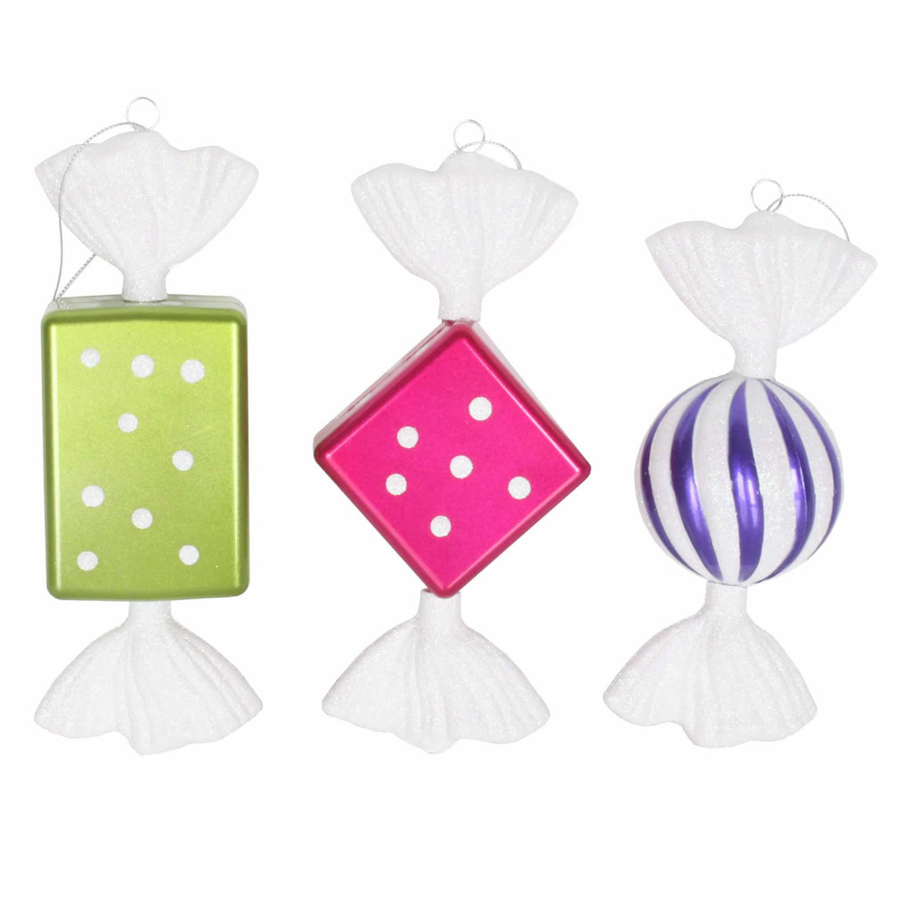 "8"" Glitter Finish Candy Assorted Ornaments (Set of 3)"