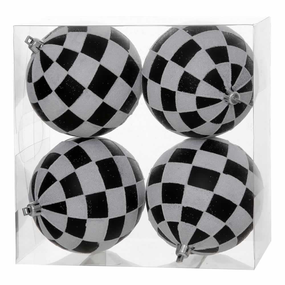 "4.7"" Matte/Glitter Finish Check Ball Ornaments (Set of 4)"