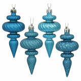 "4"" Assorted Finish Finial Ornaments (Set of 8)"
