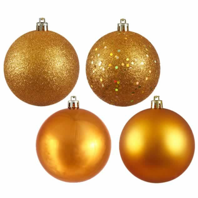 "12"" Assorted Finish Drilled Ball Ornaments (Set of 4)"