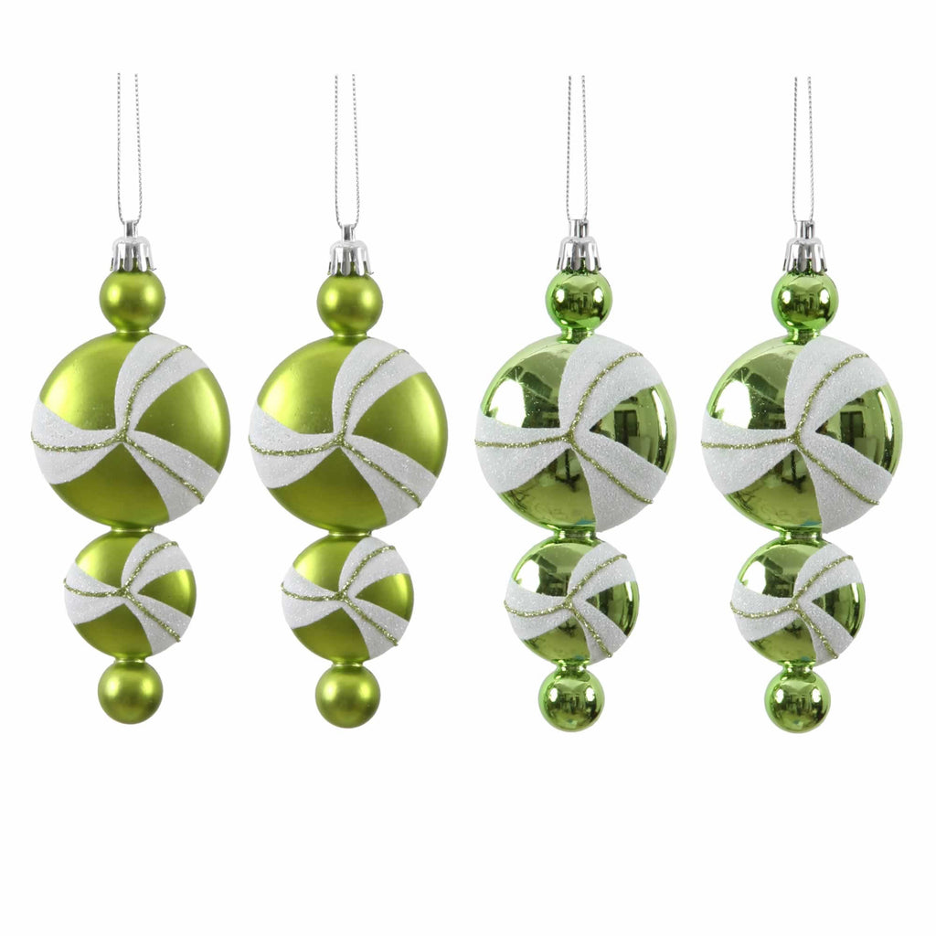 "6"" Assorted Candy Drop Ornaments (Set of 4)"