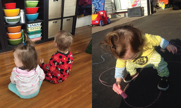 My baby at daycare—playing with friends and chalk.