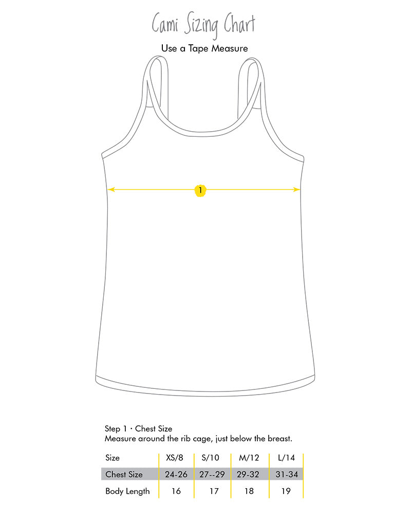 Yellowberry Cami Size Chart