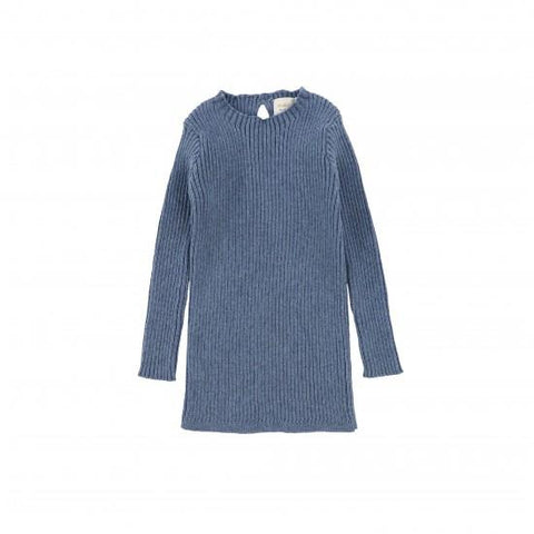Analogie Blue Ribbed Knit LS Top