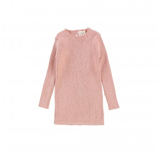 Analogie Pink Ribbed Knit LS Top