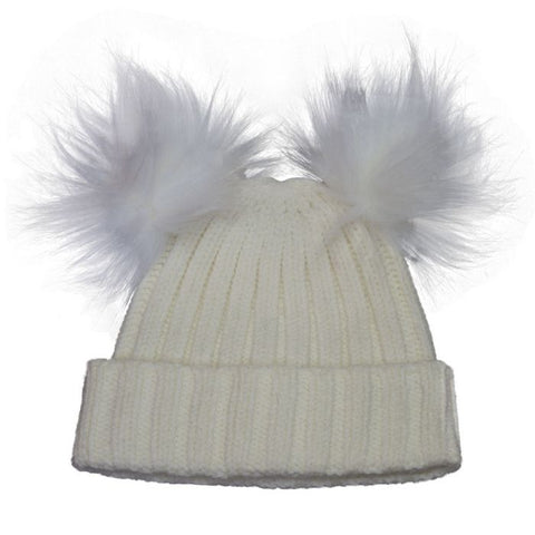 Cali Kids Double Pom Pom Hat in Cream