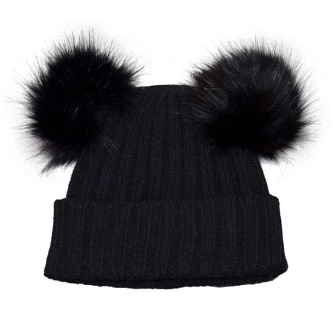 Cali Kids Double Pom Pom Hat in Black