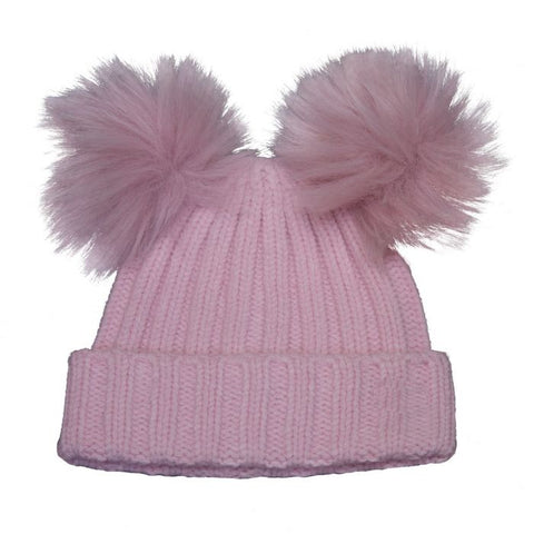 Cali Kids Double Pom Pom Hat in Pink