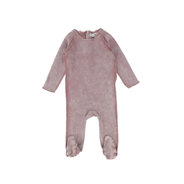 Lil Legs Pink Wash Ribbed Footie