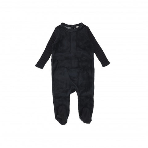 Lil Legs Black Velour Wide Rib Footie