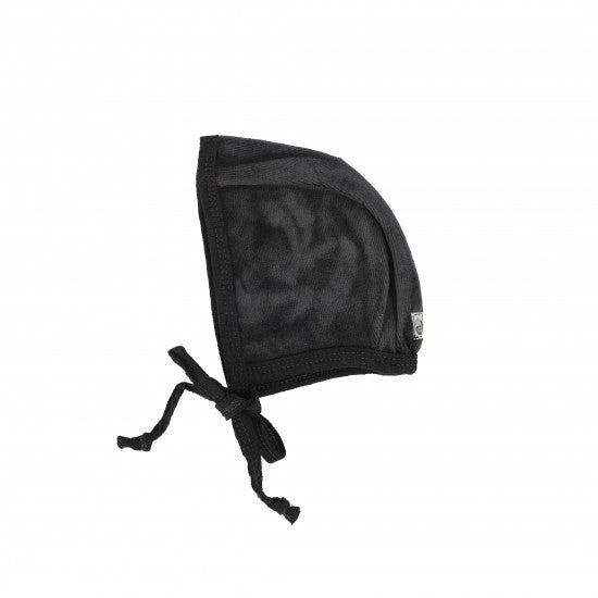 Lil Legs Black Velour Wide Rib Bonnet