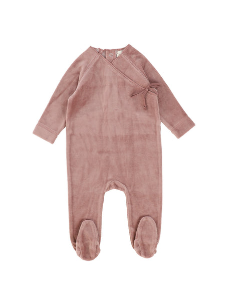Lil Legs Rose Velour Wrap Footie
