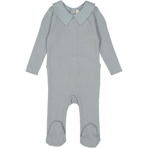 Lil Legs Soft Blue Collared Footie