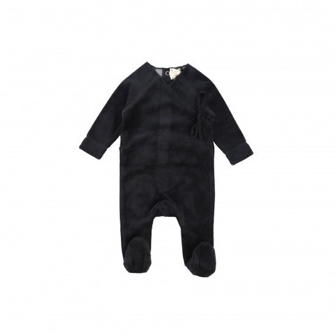 Lil Legs Black Velour Wrap Footie
